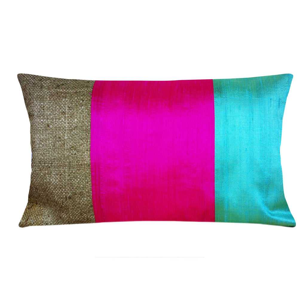 Hot Pink and Aqua Raw Silk Lumbar Pillow Cover Buy Online From DesiCrafts