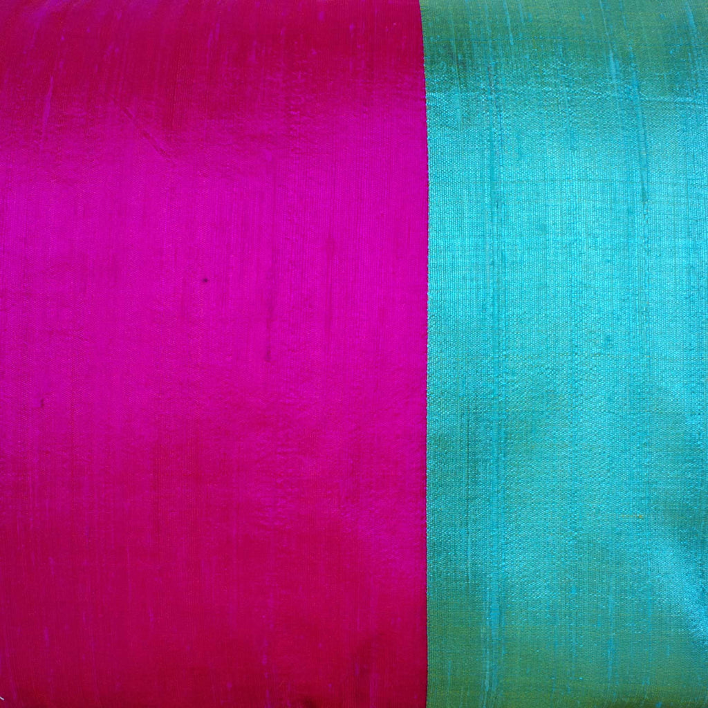 Hot Pink and Aqua Raw Silk Lumbar Pillow Cover Buy Online from India