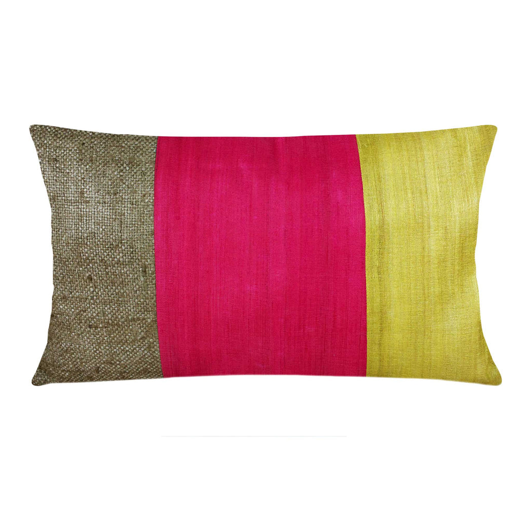 Coral Mustard Raw Silk Lumbar Pillow Cover Buy Online from India