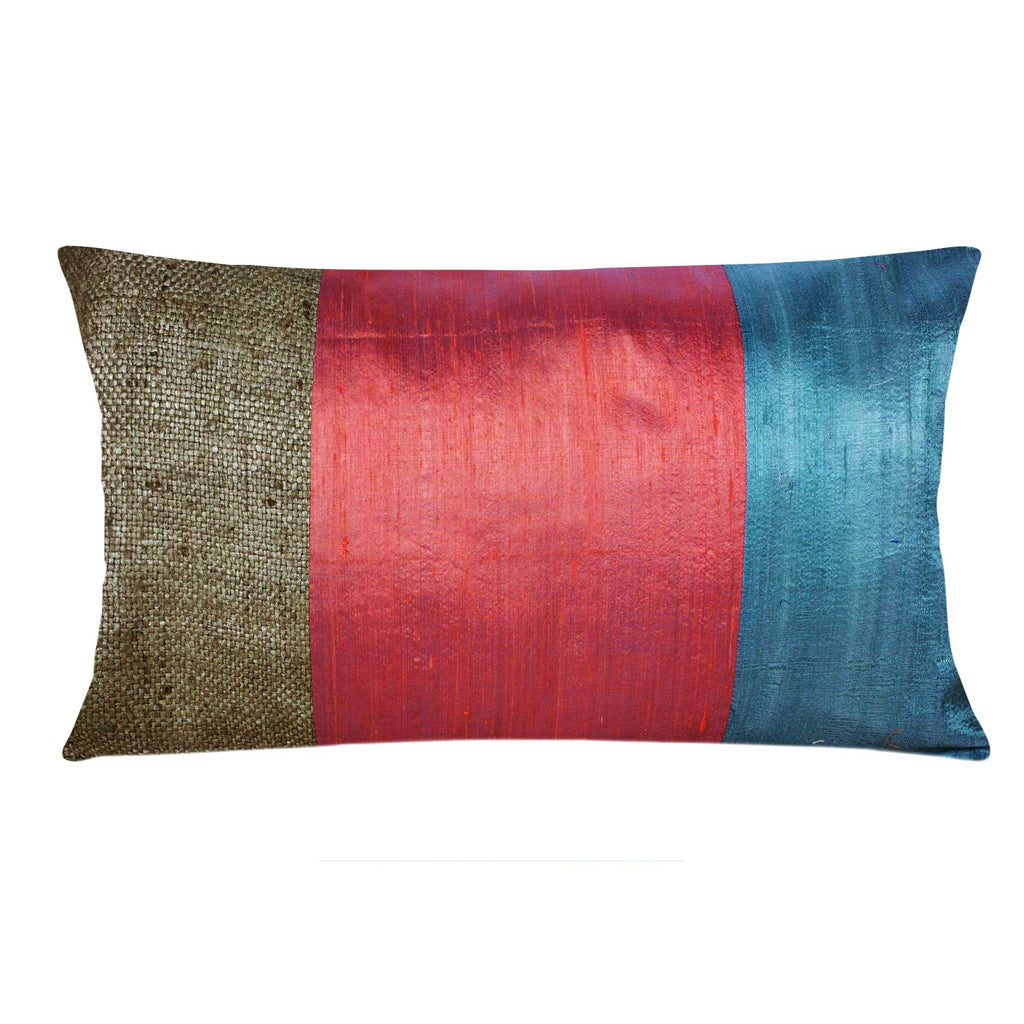 Grey and Coral Raw Silk Lumbar Pillow Cover Buy Online from DesiCrafts