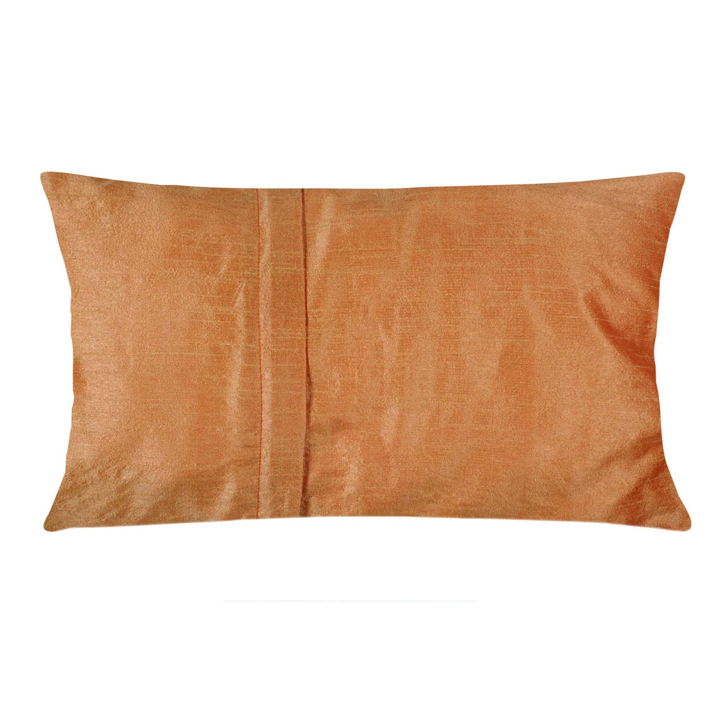 Handmade Grey and Coral Raw Silk Lumbar Pillow Cover Buy Online from India