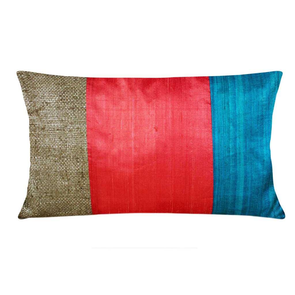 Handmade Orange and Teal Raw Silk Lumbar Pillow Cover Buy Online from India