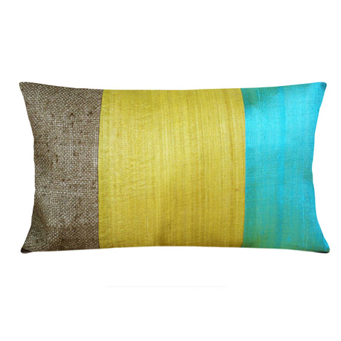 Handmade Aqua Mustard Raw Silk Lumbar Pillow Cover