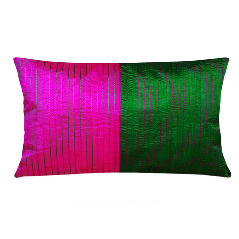 Handmade Green and Magenta Raw Silk Lumbar Pillow Cover Buy Online from DesiCrafts