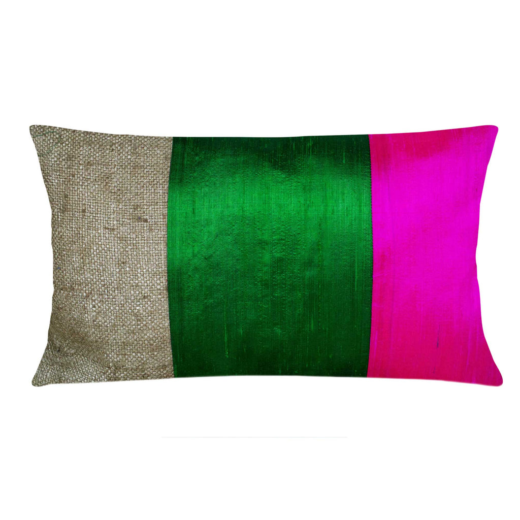Green and Magenta Raw Silk Lumbar Pillow Cover Buy Online from DesiCrafts
