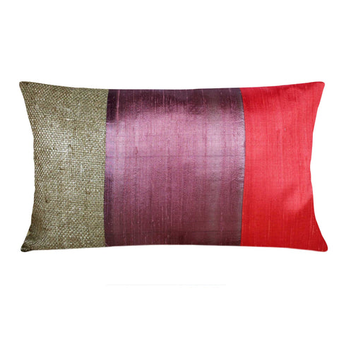 Coral and Rose Quartz Raw Silk Lumbar Pillow Cover Buy Online from DesiCrafts