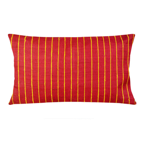 Coral and Yellow Raw Silk Lumbar Pillow Cover