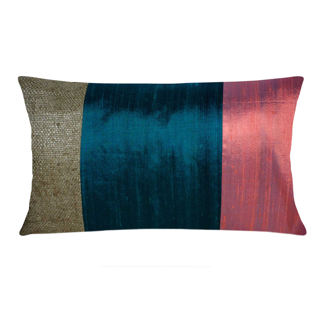 Teal and Rust Raw Silk Lumbar Pillow Cover Buy From DesiCrafts