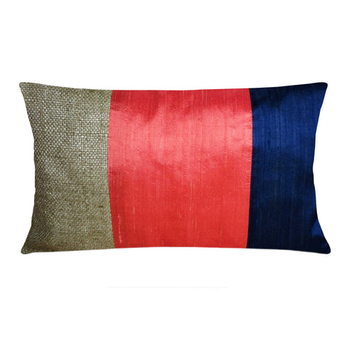 burlap silk color block pillow cover