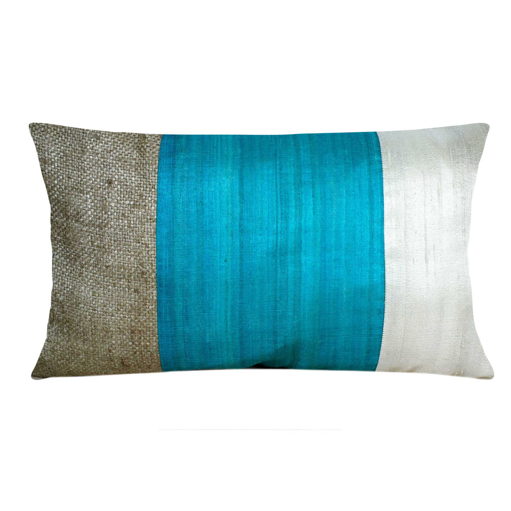 Beige and Aqua Silk Pillow Cover