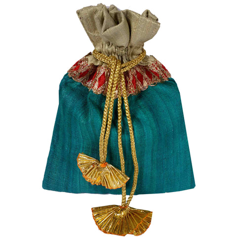 Teal and Beige Drawstring Silk Bag Buy Online from DesiCrafts