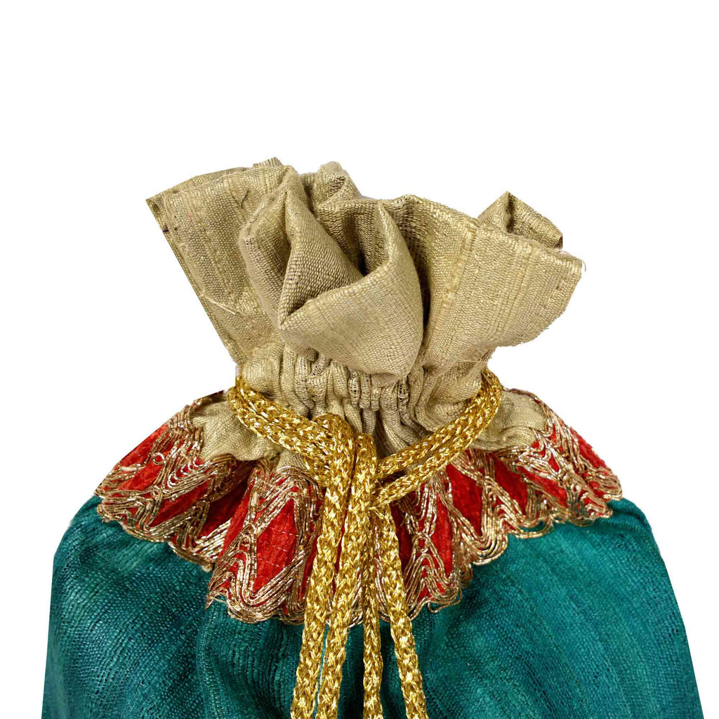 Teal and Beige Drawstring Silk Pouch Buy Online From India