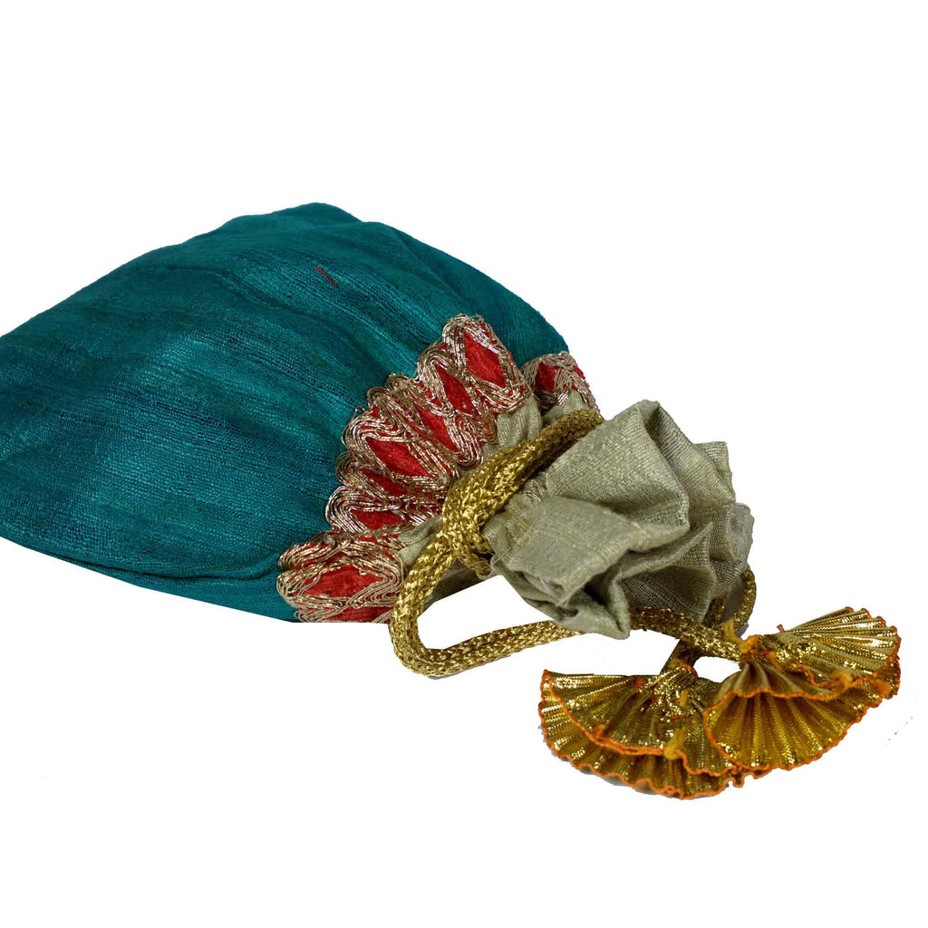 Teal and Beige Drawstring Silk Bag For Indian Weddings