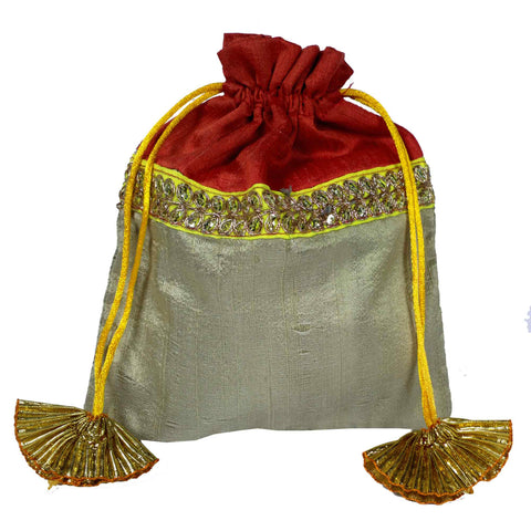 Coral and beige Drawstring Silk Bag Buy From Online India