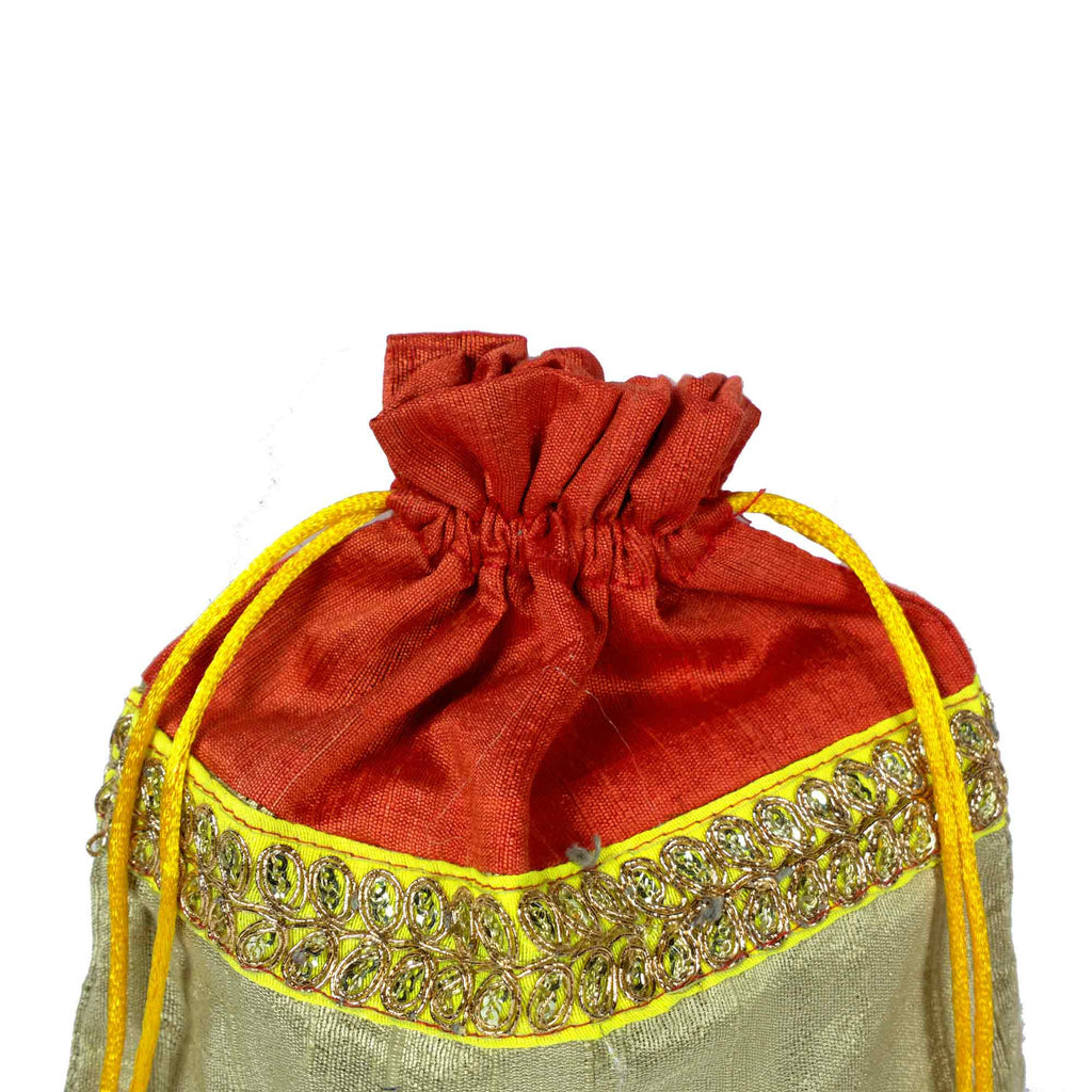 Coral and beige Drawstring Silk Bag Buy From DesiCrafts