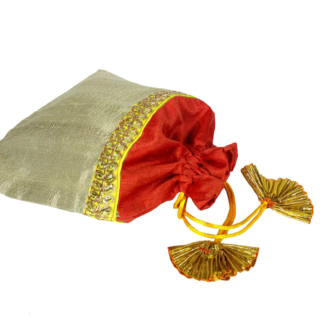 Coral and beige Drawstring Silk Pouch  From India