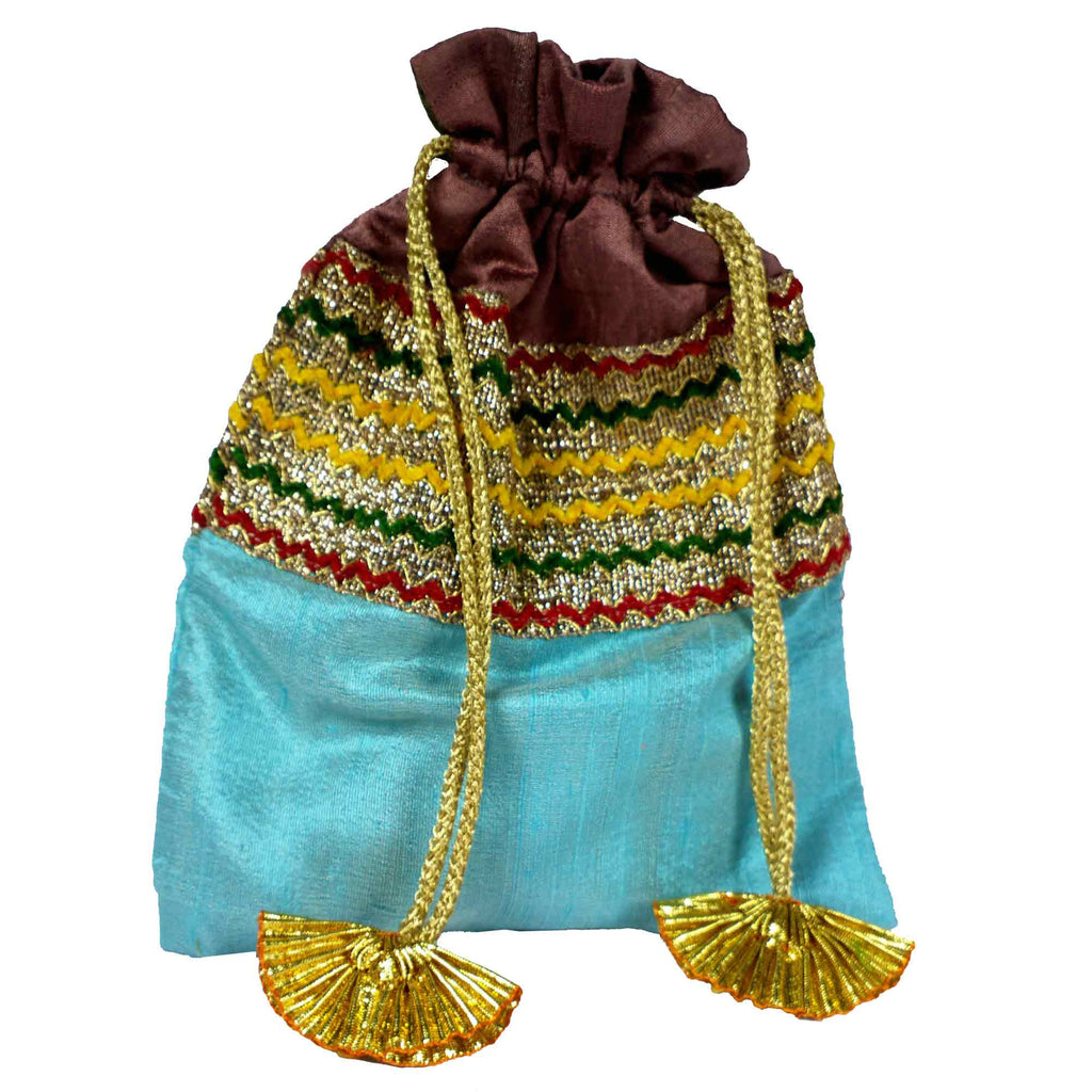 Mint and Plum Drawstring Silk Bag Buy Online From India