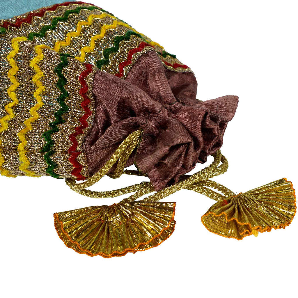 Mint and Plum Drawstring Silk pouch From India