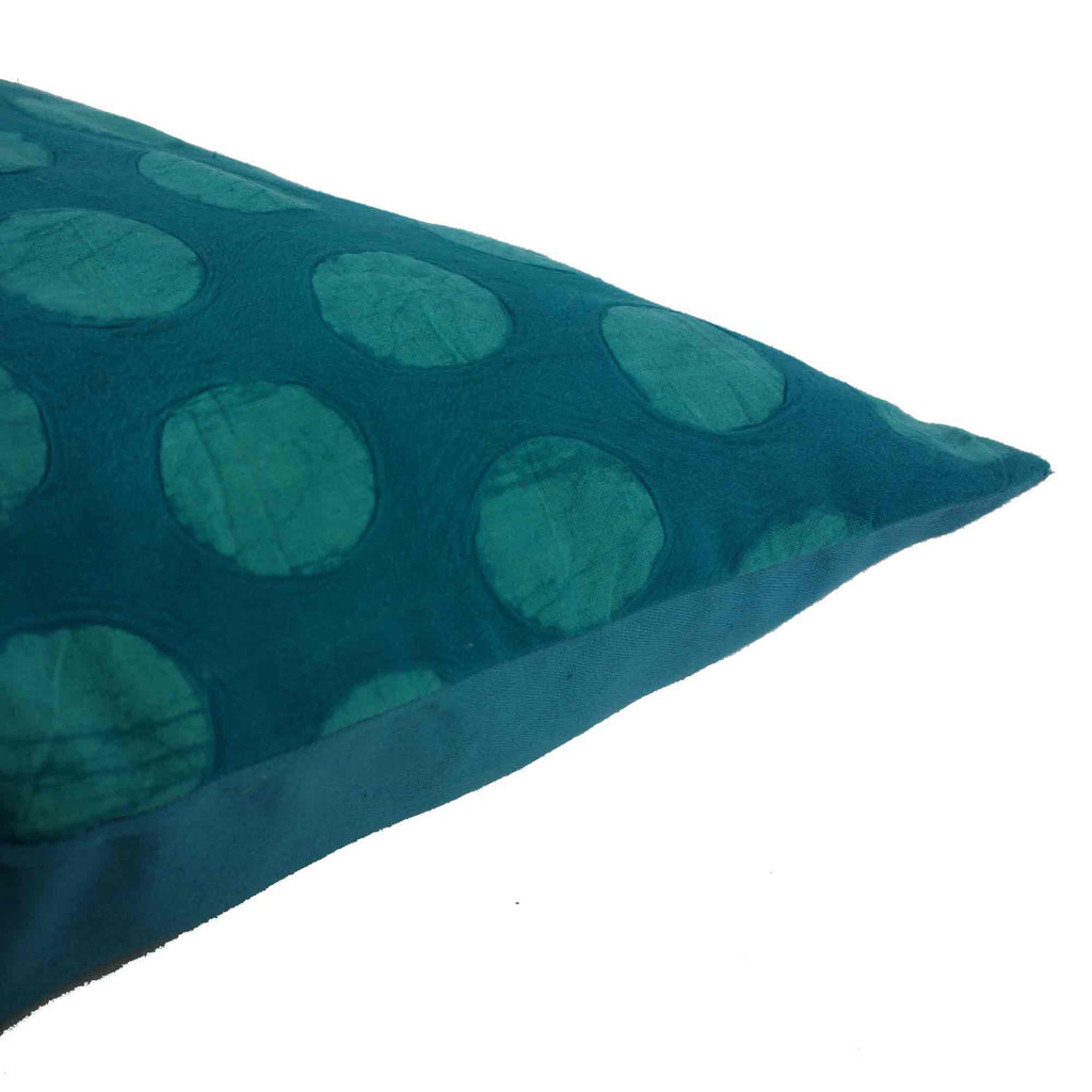 Teal Polka Batik Cushion Cover