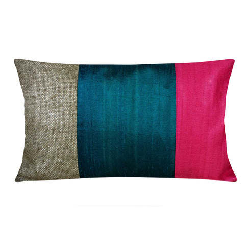 Red and Teal Raw Silk Lumbar Pillow Cover Buy Online from DesiCrafts