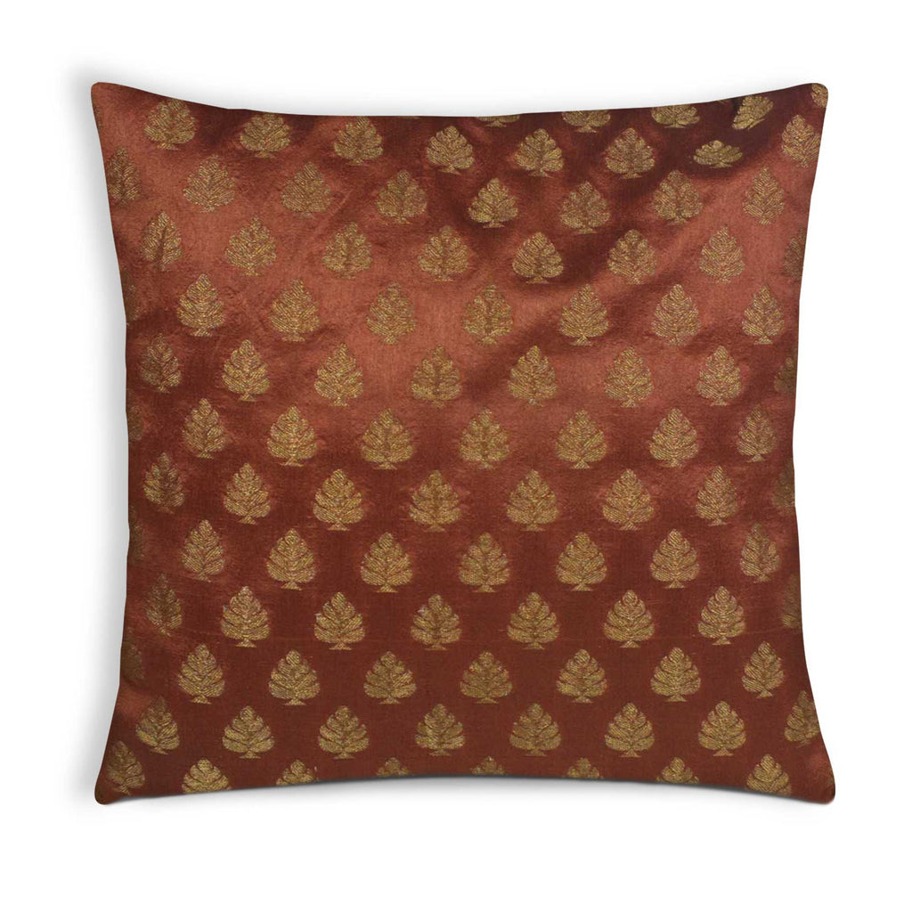 Brown and Gold Silk Cushion Cover Buy Online From DesiCrafts