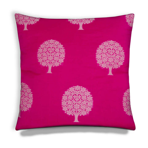 hot pink and silk chanderi silk cushion cover