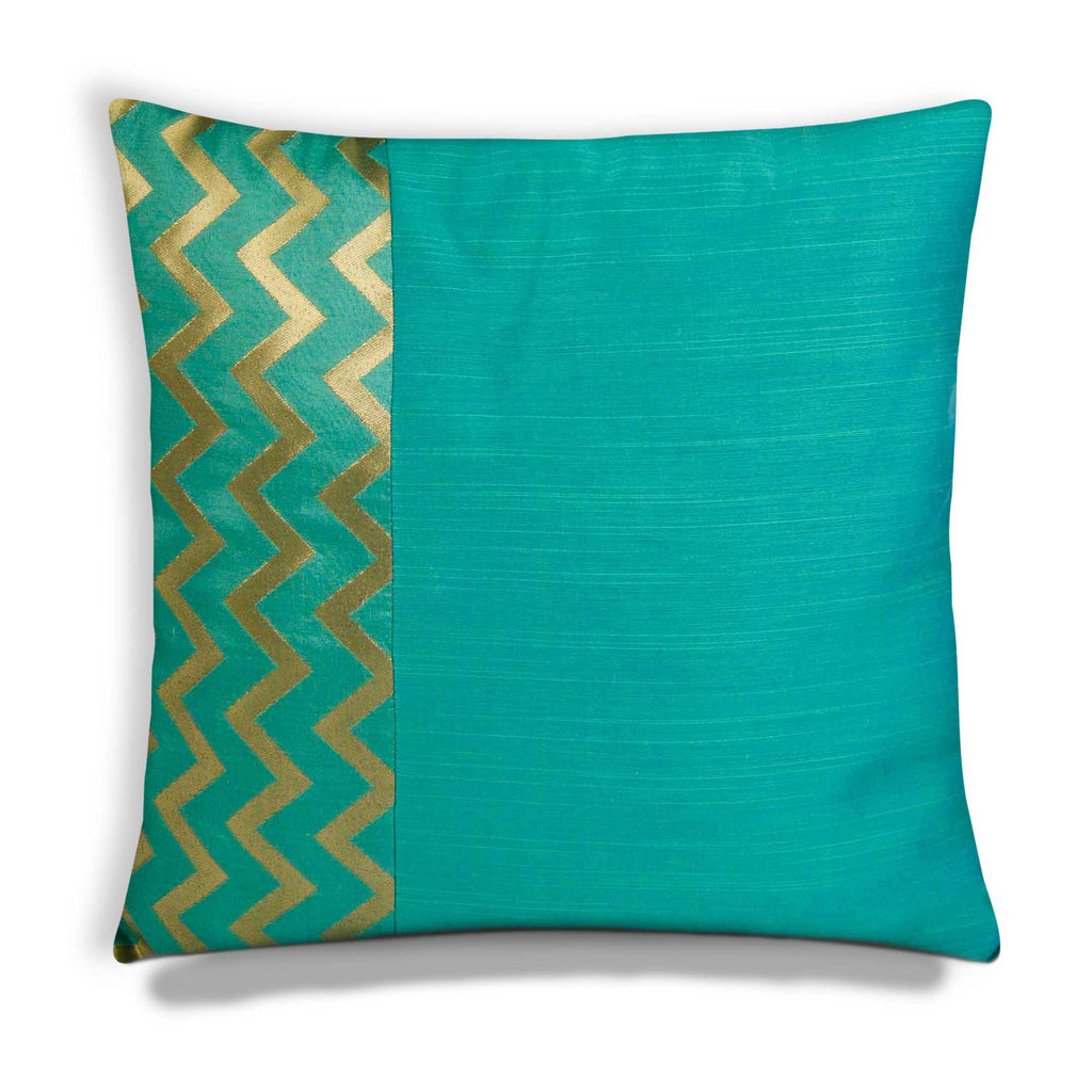 Aqua and Gold Chevron Cotton Silk Pillow Cover