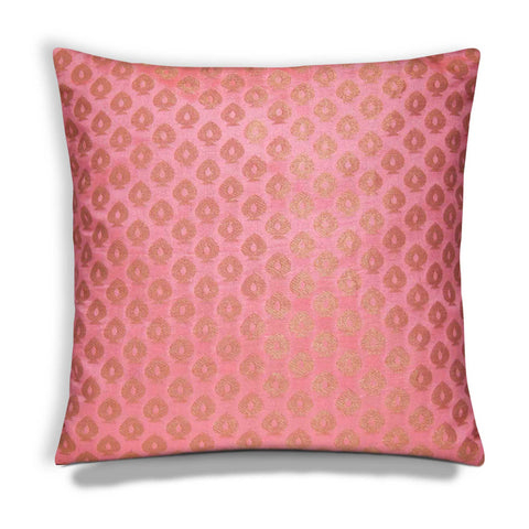 Peach and gold chanderi silk cushion cover