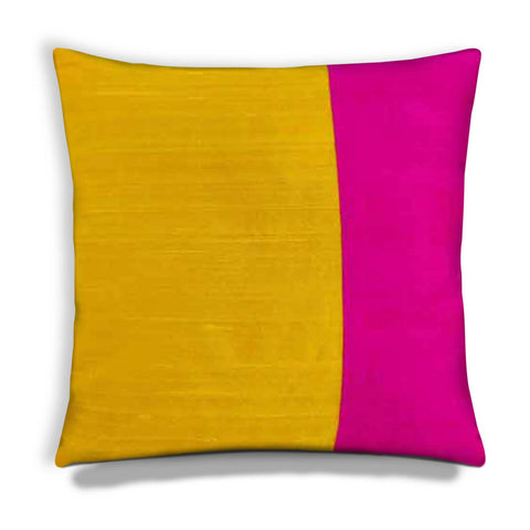 Yellow and Hot Pink Raw Silk Pillow Cover