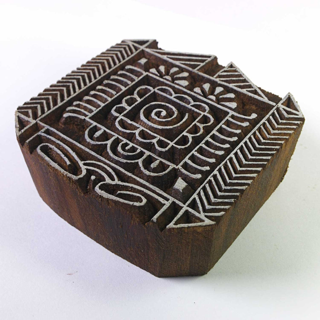 Square Tribal Pattern Wooden Stamp
