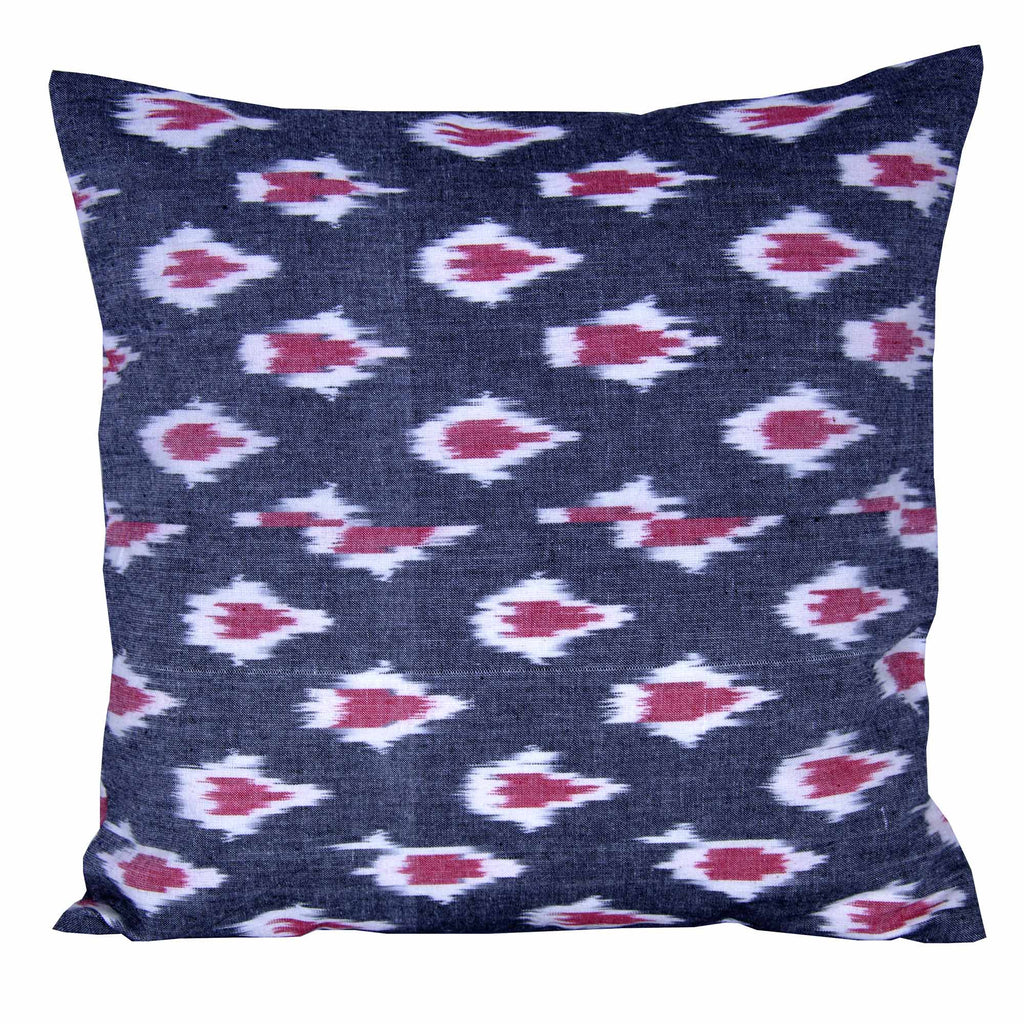 Cotton Pillow Cover in Grey and Red