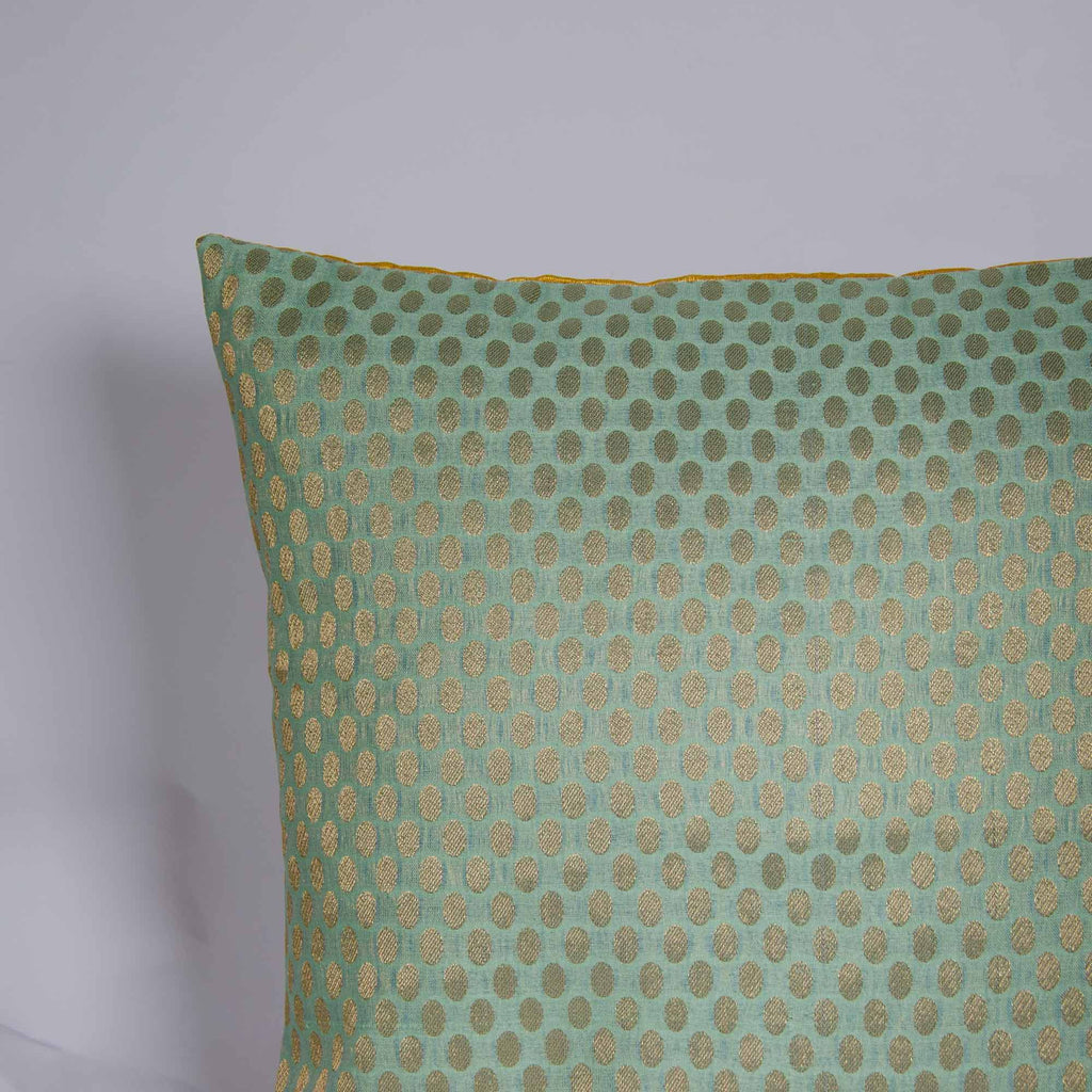 Teal and Gold Polka Dots Silk Cushion Cover