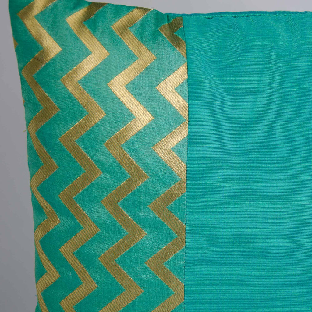 Aqua and Gold Chevron Cotton Silk cushion Cover
