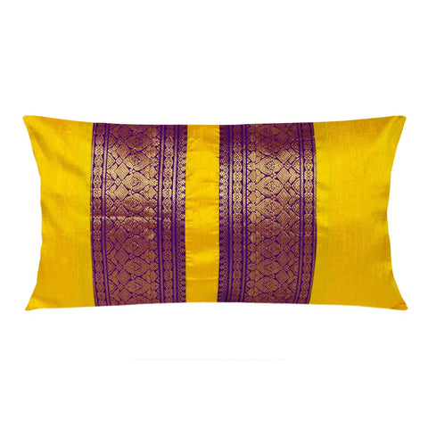 Yellow Purple Raw Silk Lumbar Pillow Cover by DesiCrafts Buy Online From India