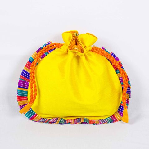 Yellow drawstring potli bag by DesiCrafts