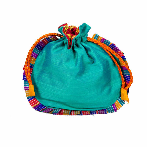 Sea Green Drawstring Silk Potli Bag Buy online from DesiCrafts