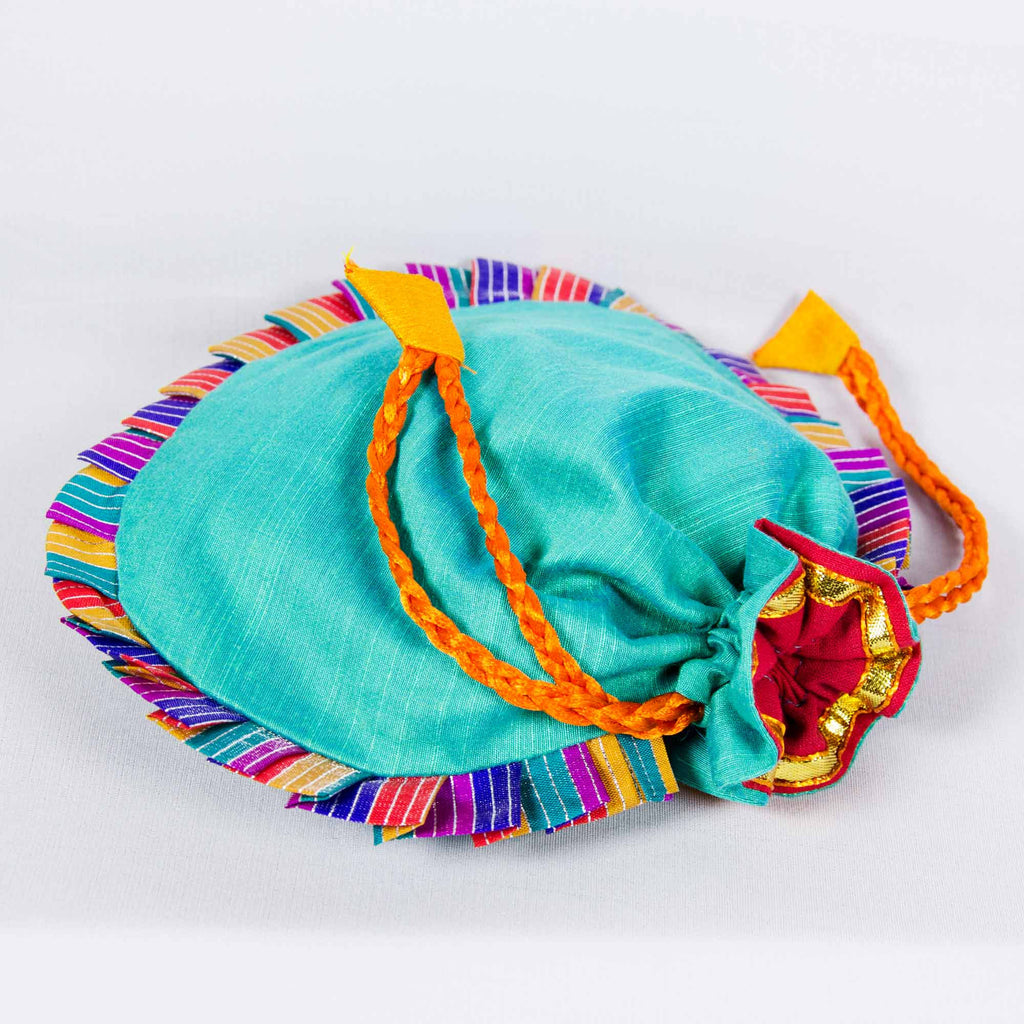 Sea Green Drawstring Silk Potli Bag Buy online from India