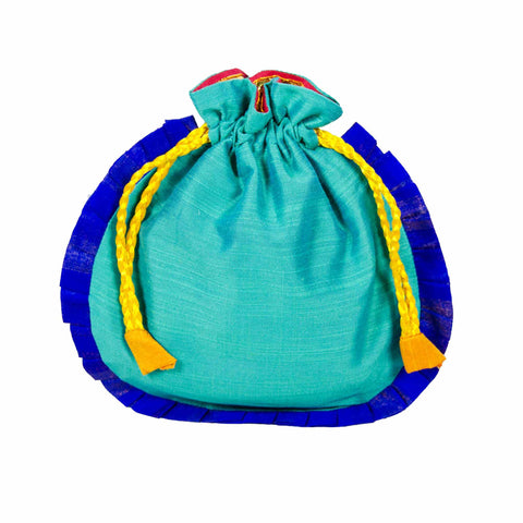 Sea Green and Blue Drawstring Silk Potli Bag Buy Online From India