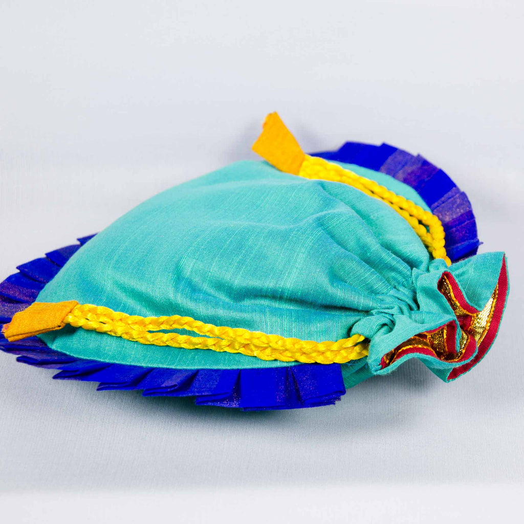 Handmade Sea Green and Blue Drawstring Silk Potli Bag