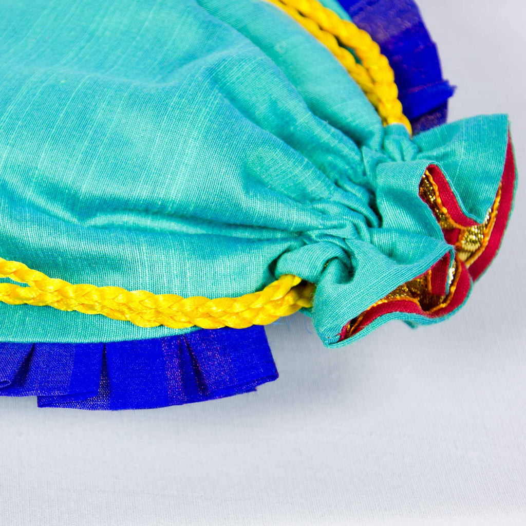 Fairtrade Sea Green and Blue Drawstring Silk Potli Bag