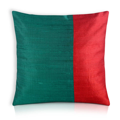 Teal and Red Raw Silk Pillow Cover
