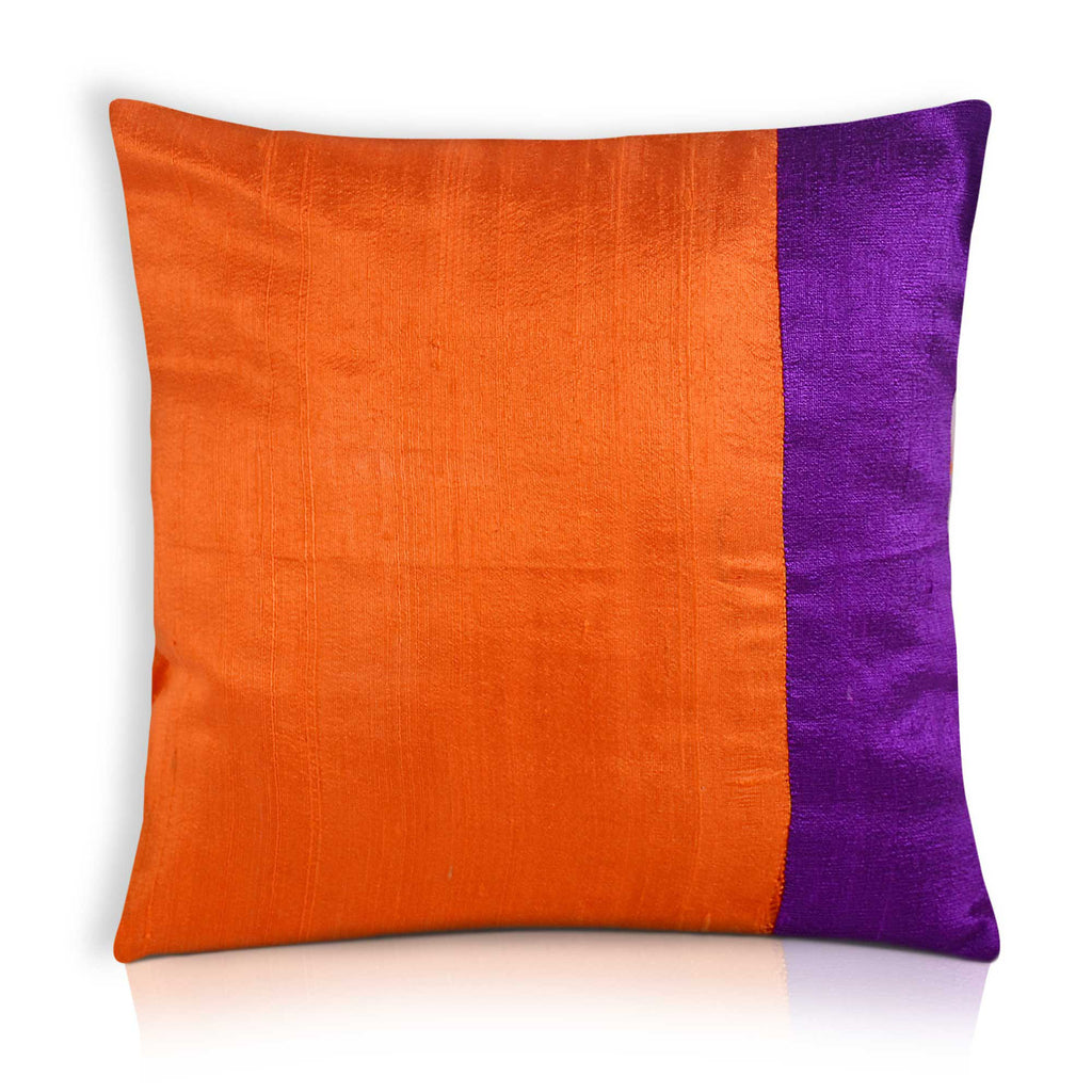 Orange and Purple Raw Silk Color Block Pillow Cover