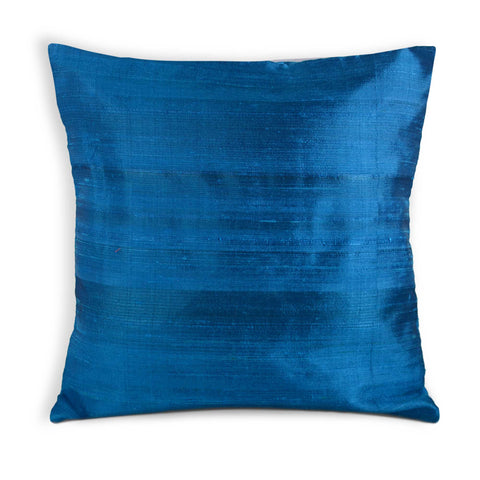 medium blue raw silk pillow cover