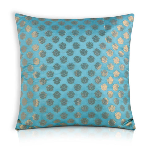 Teal and Gold Floral Chanderi Silk Pillow Cover