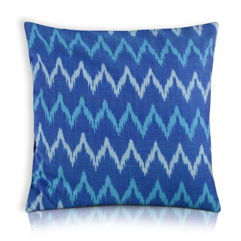 Turquoise Blue Ikat Cotton Pillow Cover