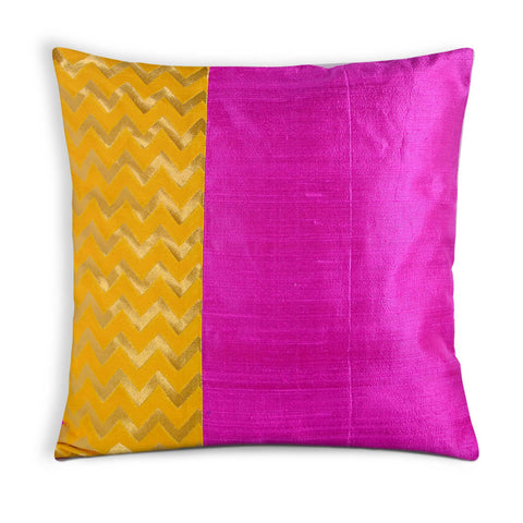 Hot pink and yellow color block pillow cover