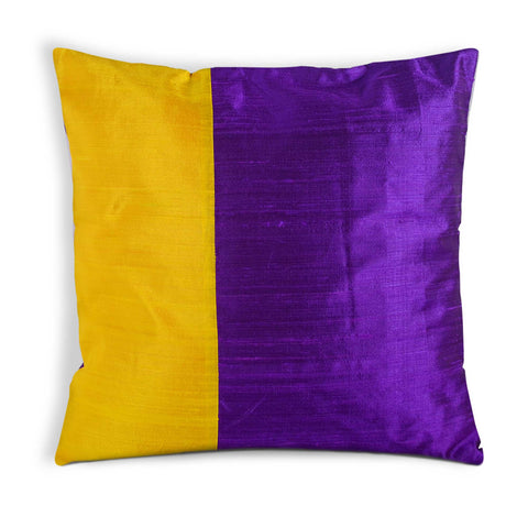 Yellow and Purple colorblock pillow cover
