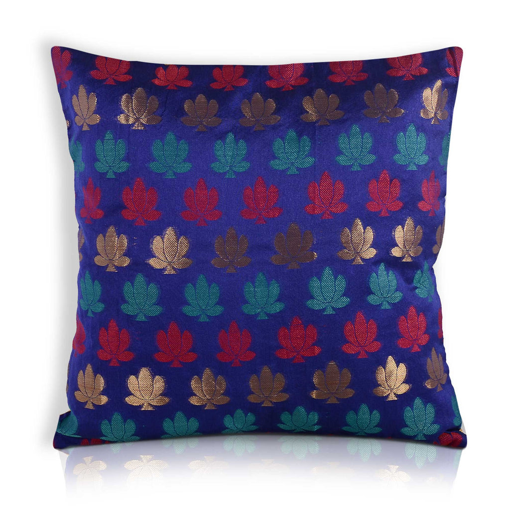 Blue and Red Lotus Silk  Pillow Cover