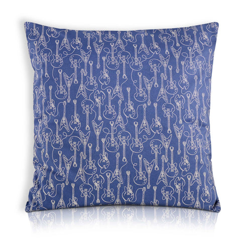 guitar print indigo and white pillow cover