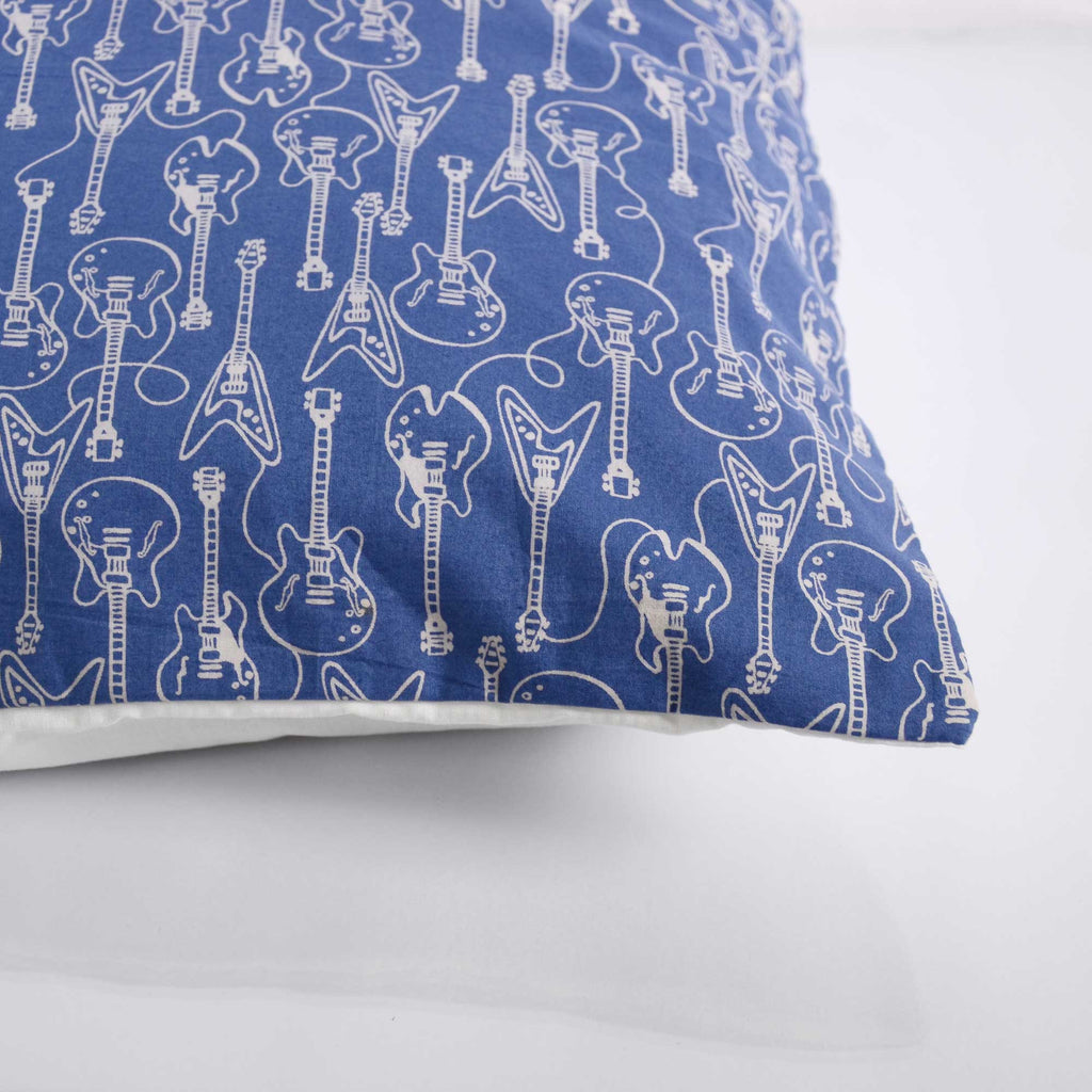 guitar print cushion cover in indigo and white